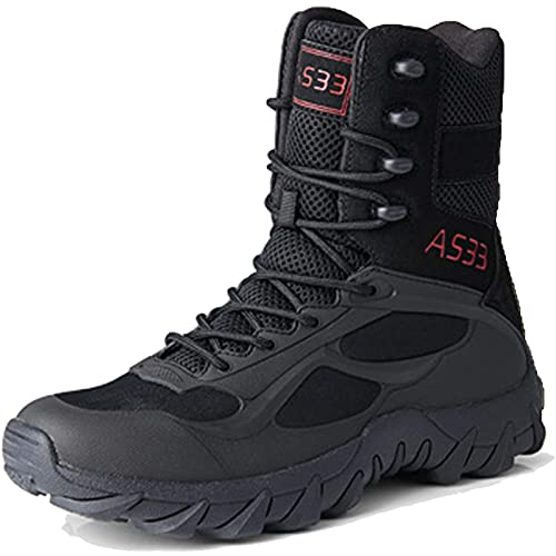 Tactical Boots Mens Military Waterproof Army Patrol Boot High-Top Lace-up Outdoor Camping Hiking Desert Combat Boot Lightweight Breathable Safety Work Shoes