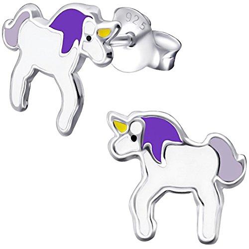 JAYARE pendientes para niña unicornio 9 x 9 mm Esmalte plata de ley 925 blanco lila violeta con la caja niños