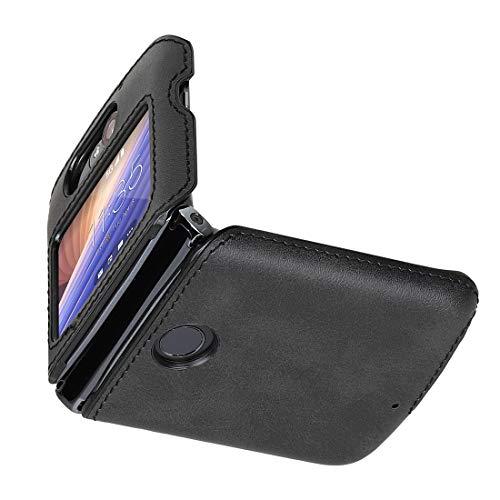 Cresee Kompatibel mit Motorola Razr 5G (2020) Hülle, PU Leder Back Cover + Hard PC Schutzhülle Thin Fit Phone Hülle für Moto Razr 5G, Schwarz