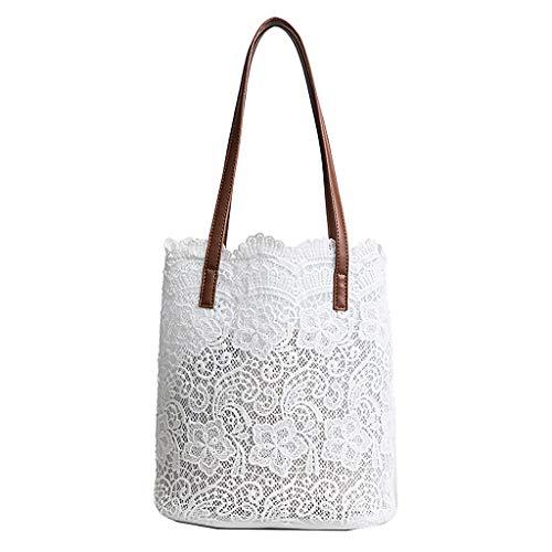 Kofun 2-in-1-Handtasche mit floralem Spitze, für Damen, Strandtasche, Messenger Bag Tote Boho-Schultertasche weiß