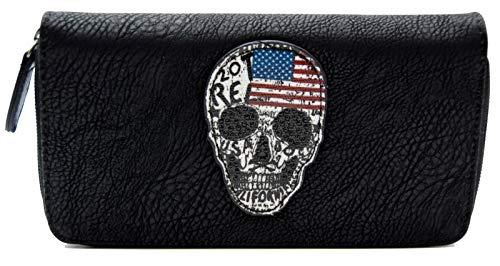 Damen Geldbörse Totenkopf USA Look American Skull Strass Design Portemonnaie Geldbeutel Schwarz