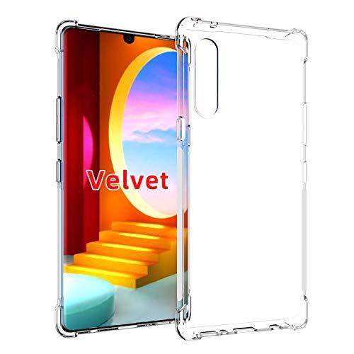 Pkila Fusion Diseñado para LG Velvet Funda Cover, Transparente al Dorso Carcasa Protección Resistente Impactos TPU Funda Case para LG Velvet- Clear