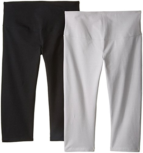 Yummie by Heather Thomson Women's Maternity 2-Pack Shaping Support Capri Legging, Black/Silver Sconce, S