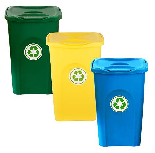 BigDean 3er Set Mülleimer 50L groß - 3-Fach Mülltrennsystem für Mülltrennung & Recycling - 3 Farben blau, grün, gelb - mit Klappdeckel - Mülltonne Müllsortierer Abfalleimer