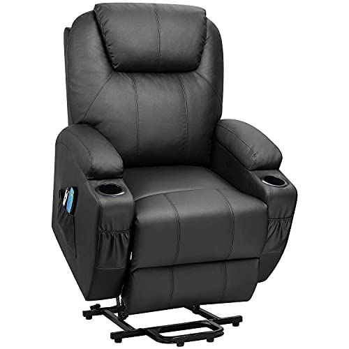 Flamaker Power Lift Recliner Classic Single Sofa Chair with PU Leather for Elderly with Massage and Heating Ergonomic Lounge Chair for Living Room