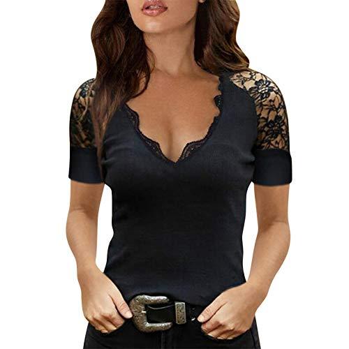 Damen Sexy V-Ausschnitt T-Shirt mit Spitze, Sexy Schulterfrei Oberteil,Damen T Shirt Leicht Sexy V Ausschnitt Kurzarm Shirt mit Spitze Elegant Shirts Oberteile Tops Sommer Blusen