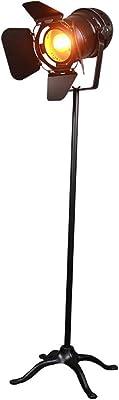 Lampe sur Pied de Salon Halogene Maison de Campagne Nostalgie Noir Ventilateur Lampe de Sol Chambre D/écoration /Éclairage avec Interrupteur /À Pied pour Bar Restaurant Caf/é ZMLG Lampadaire Industriel