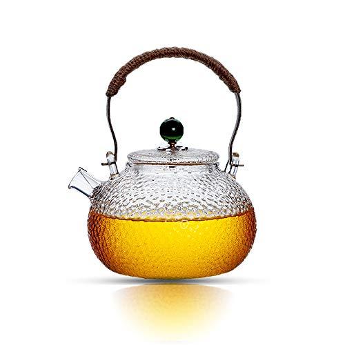 Teiera in vetro da 1000 ml con bobina di filtro, teiera per tè sciolto, sicura sul piano cottura, teiera con manico in rame Coperchio verde.