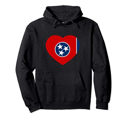 3 Star TN State Flag Gift Heart Shape Design Tennessee Flag Pullover Hoodie
