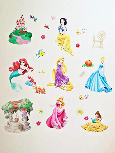 Kibi Princesas Disney Pegatinas De Pared Disney Stickers Infantiles Pared Princesas Casa De Pared Etiquetas De La Pared Niños Dormitorio Bebe, Artes Decorativas Wall Stickers 30 (W) x 90 (H) CM