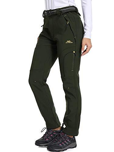 Women's Snow Fleece Soft Shell Insulated Waterproof Pants Warm Outdoor Cargo Hiking Pants, Army Green M 32