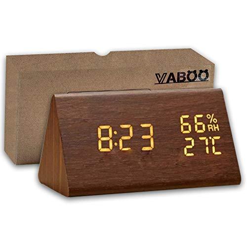 VABOO Sveglia in Legno, Sveglia Digitale a LED in Legno, Orologio da Tavolo con Display Temperatura umidità Ore, 3 Livelli di Luminosità, Controllo Vocale,Orologio da Comodino Doppio Alimentatore