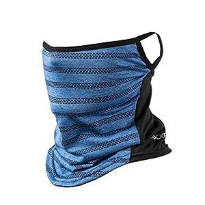 ROCKBROS(ロックブロス)フェイスカバー 冷感 ネックカバー uv 夏用 息苦しくない 耳かけヒモ付き 日焼け ランニング メンズ レディース(ブルー)