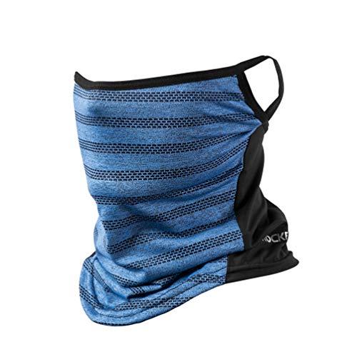 ROCKBROS(ロックブロス)フェイスカバー 冷感 ネックカバー uv 夏用 息苦しくない 耳かけヒモ付き 日焼け ランニング メンズ レディース(ブルー薄型)
