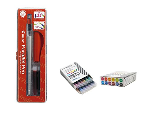 Lote 1 Pluma Caligráfica Pilot Parallel Pen plumin 1.5mm Recargable + Caja con 12 Recambios Surtidos Pluma Pilot Parallel Pen
