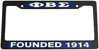 Phi Beta Sigma Founding Year Black Plastic License Plate Frame Greek Fraternity Letter For Front Back of Car