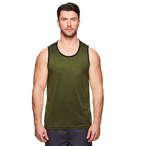 Gaiam Men's Everyday Basic Muscle Tank Top - Sleeveless Yoga & Workout Shirt - Rifle Green Heather, Small