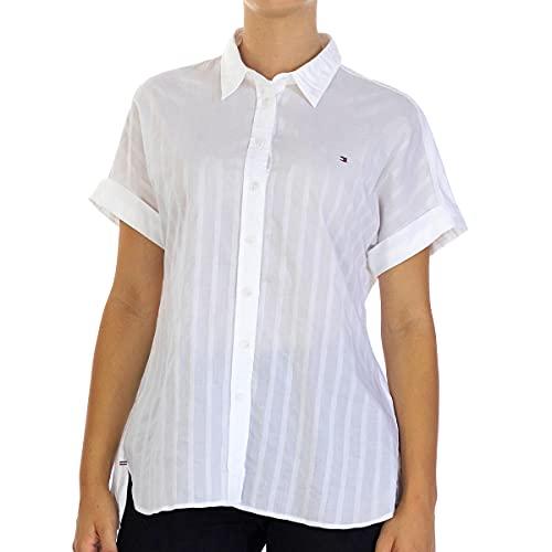 Tommy Hilfiger Damen Rayla Shirt Ss Hemd, Weiß (Ari STP - White), 34