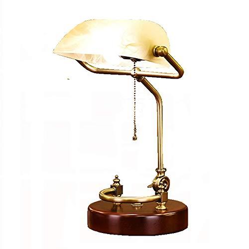 LKJNB Retro LED lampara de Mesa/Antiguo clasico banqueros lampara de Escritorio/Oficina lampara de Lectura con Amarillo imitacion marmol Pantalla giratoria Cabeza (sin Bombilla)