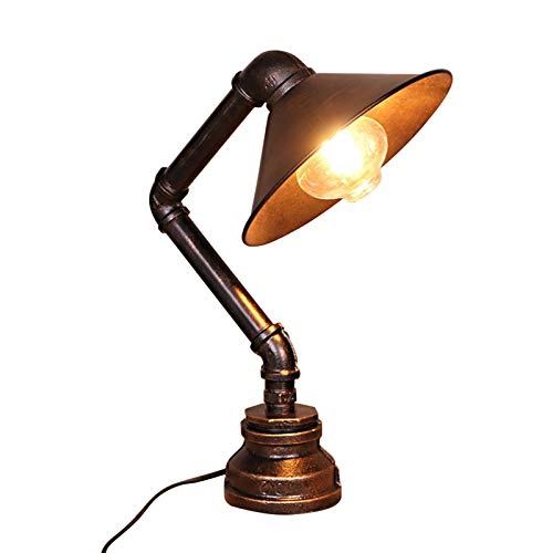 Water Pipe Table Lamp - Motent Industrial Rust Iron Table Light Antique Steampunk Metal Desk Lamp Bedside Lighting Fixture for Bedside Reading Kids Room Cafe Bar