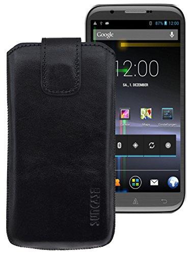 Suncase ECHT-LEDER Tasche Etui für OUKITEL K10000 (mit Rückzugsfunktion, Magnetverschluss) schwarz