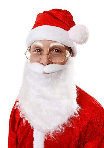 Déguisement avec la barbe et la moustache blanche du père Noël pour adulte. Ideal pour les fêtes de fin d'année.
