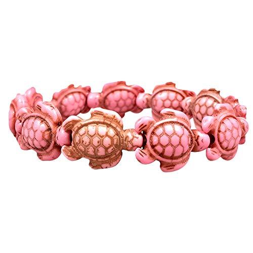 Women Tortoise Shape Turquoise Bracelet Vintage Bracelet Elastic Charm Bracelet Chain Jewelry, Gift for Her (Pink,Free)