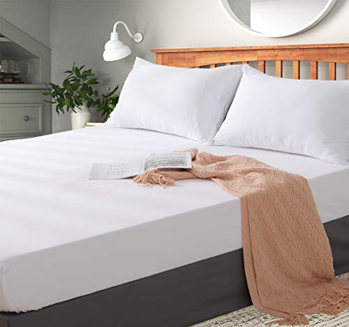 Aisbo - Sábana Bajera Ajustable de Microfibra para Todas Las Estaciones, Cama matrimonial, 160 x 190 x 30 cm, Blanco