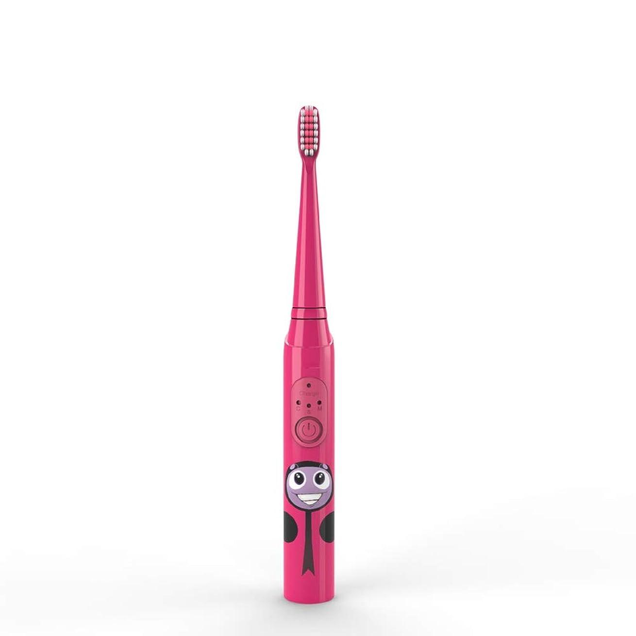 推定心配誤子供の電動歯ブラシUSB充電式保護清潔で柔らかい毛の歯ブラシ (色 : 赤, サイズ : Free size)