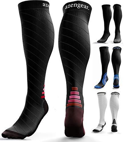 Calcetines de Compresión para Hombres y Mujeres - Medias de Compresion para Deporte - Maratones - Enfermeras - Estrés tibial Interior - Durante Embarazo (S/M (35-42), Negro/Rojo)