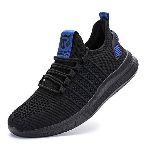 Sneaker Casual da Uomo Fitness Sportive Running Ginnastica Scarpe Nero Blu 45