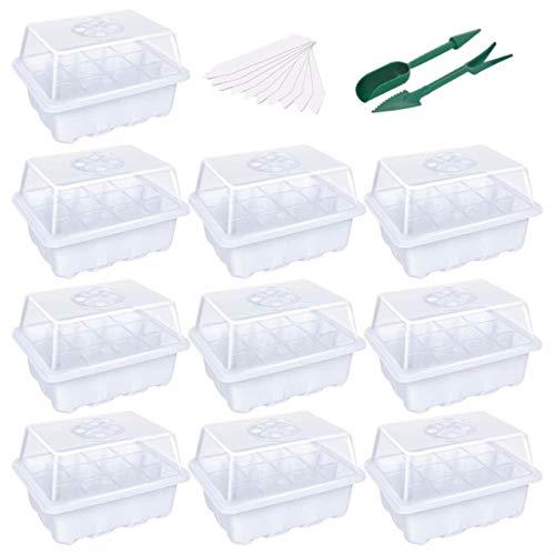 ASDFF Paquete de 10 bandejas de Inicio de Semillas, macetas de vivero, Bandeja de plántulas, Interruptor Ajustable de Humedad, Accesorios de decoración de jardín, Celdas por Bandeja