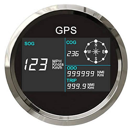 ELING Digital GPS Speedometer LCD Speed Gauge Odometer Course 85mm Overspeed Alarm Mileage Adjustable 7 Backlights