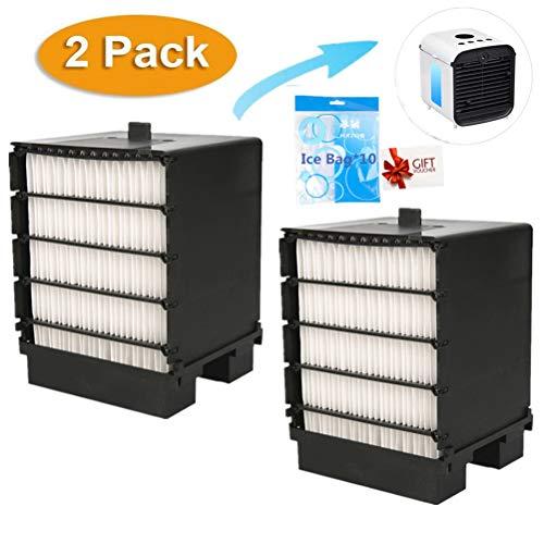 Air Ersatzfilter, Filter Ersatz, Cooler Filter, Mini Luftkühler Ventilator Air Mini Cooler Mobil Klimageräte Ersatzteile (X- 2Pcs + Eisbeutel)