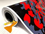 """Red Black Gray Glossy Camouflage Vinyl Car Wrap Film Sheet + Free Cutter & Squeegee (Except Sample Size) (40FT x 5FT / 480"""" x 60"""")"""