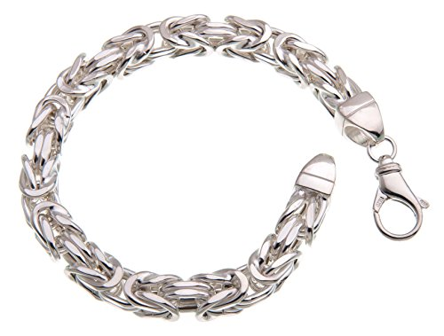 Königskette Armband 8x8mm, halbmassiv - 925 Silber, 20cm
