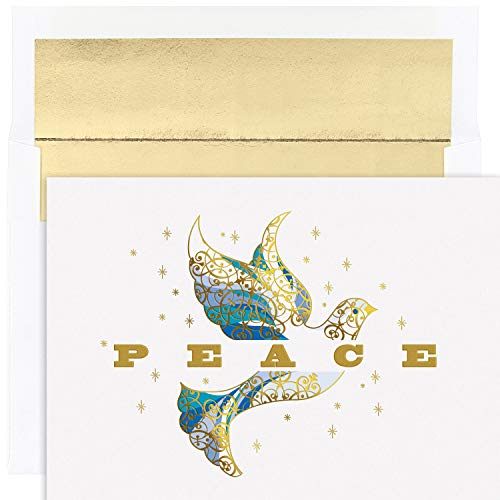 Masterpiece Studios Holiday Collection 16-Count Boxed Embossed Cards with Foil-Lined Envelopes, 7.8' x 5.6', Elegant Dove