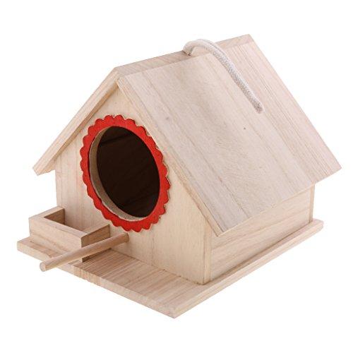 LOVIVER Casa de Pájaros Pajarera Nido Casa de Aves de Madera Natural con Cuerda Decorativa para Jardin en Invierno - 20x 23x 18cm