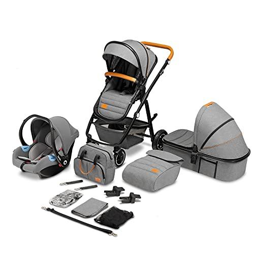LIONELO Amber Coche de bebé multifuncional 3 en 1 Conjunto silla de paseo con el Asiento de Cubo e Capazo Manillar regulable Bolsa Mosquitero Protector de lluvia Asiento de coche (Gris)