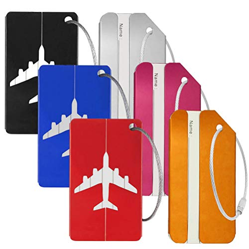 Leful 6 pcs Luggage Tags, Lightweight Travel ID Bag Tag Aluminium Name Address Holder Suitcase Bag Labels for Travel Bussiness Trip