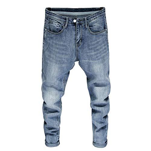 Jeans Bonne Qualité pour Les Hommes Skinny Stretch Bleu Clair Mode Streetwear Pantalons Vêtements pour Hommes Pantalons Longs-Light_Blue_28