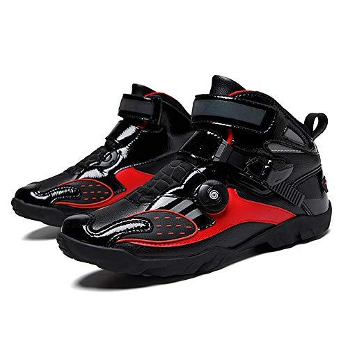 MRDEAR Motorradschuhe Herren & Damen Motorradstiefel Motorrad Schuhe Sneaker Atmungsaktiv Rutschfeste Funktions-Gummisohle, Schwarz Rot (40 EU)