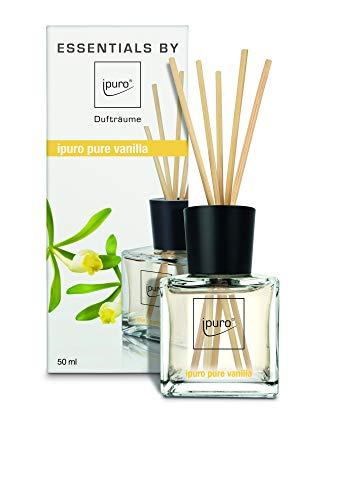 ipuro Essentials Raumduft pure vanilla - Raumduft-Set für ein köstlich gutes Raumklima - Lufterfrischer mit hochwertigen Inhaltsstoffen (50ml)- aus Glas mit Rattanstäbchen
