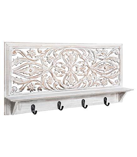 Atmosphera – Perchero con 4 ganchos y estante de madera tallada aspecto envejecido 61 x 30 cm