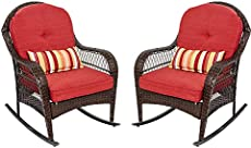 Sundale Outdoor Rocking Chairs Set of 2,2 Piece Patio Wicker Rocker Chairs with Olefin Cushions and Pillow, Rocking Lawn Chair Wicker Patio Furniture - Steel Frame, Brown, Red