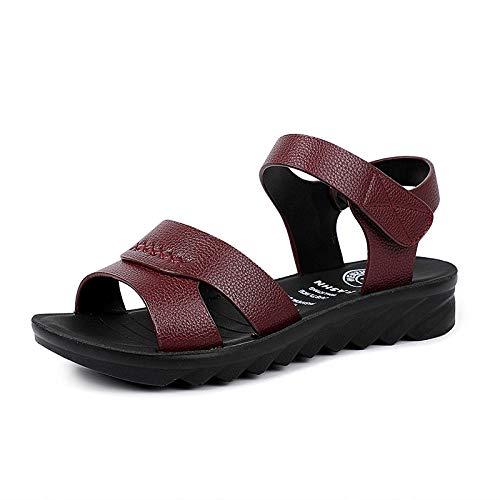 ZR1LZ Zapatillas de tacón Medio a bajo para Mujer, Sandalias de Fiesta con Correa de Tobillo Peep Toe-Vino Tinto_37