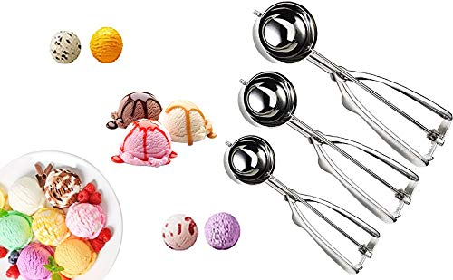 Cookie Scoop Set 3 PCS Stainless Steel Ice Cream Scoop Trigger Tablespoon Include Small Size 157 Inch/4cm Medium Size 197 Inch/5cm Large Size 236 Inch/6cm Melon Scoop