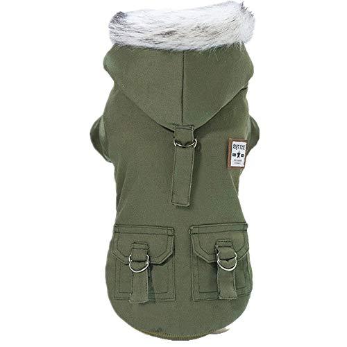 Manteau avec Capuche Chien Petite Taille Chiot Doux Mignon Mode Respirant Confortable Military Pet Vestes avec Pattes en Coton Chaud Hiver VêTement (M, Armée Verte)