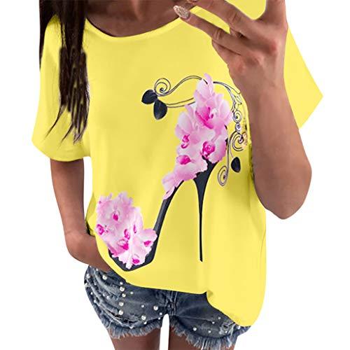 Geilisungren Kurzarm T-Shirt Damen Mode High Heels Pumps Drucken Bluse Große Größen Oberteile Frauen Sommer Casual Rundhalsausschnitt Tees Loose Fit Oversize Tunika Tops