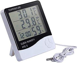 ساعة مقياس درجة حرارة رقمية ال سي دي ومقياس رطوبة بلون ابيض،اتش تي سي-2